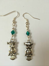 Owl Tibetan Silver drop Earrings Gradution Teacher Christmas Present in gift bag
