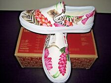 Vans Classic Slip on Womens Hawaiian Floral White Canvas Boat shoes Size 9.5 New