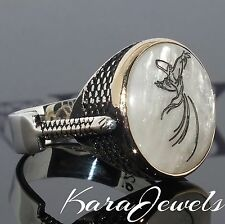 925 Sterling Silver Men's Ring with Whirling Dervish - Mawlānā Jalāl ad-Dīn