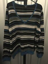 Papaya Women Jumper Multi Color Striped Knit V Neck Plus Size 20 (1)