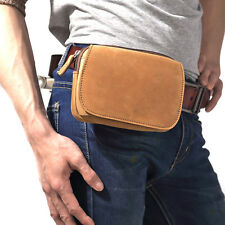 Men Crazy Horse Leather Fanny Waist Pack Bum Belt Bag Military Zip Phone Wallet