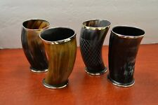"""Set of 4 ceremonial Viking Drinking Horn mug cups 6"""" for ale beer wine mead gift"""