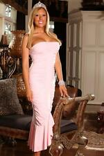 Pink Pastel Strapless Mermaid Midi Dress Gown Prom Homecoming Formal 6034