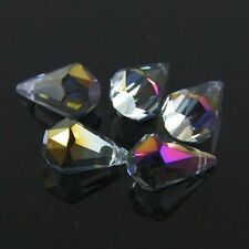 3pcs 9x14mm Flat Base Swarovski  teardrop crystal bead A plated rose+gold