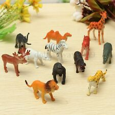 12pcs Wild Zoo Safari Animals Lion Tiger Leopard Hippo Giraffe Figure Kids Toys