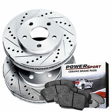 Rear Drilled Slotted Brake Disc and Ceramic Pad 2001-2003 Mazda Protege,Protege5