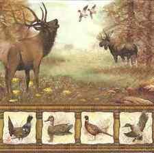 4 carta unico PANNOLINI PER DECOUPAGE Wildlife DEER UCCELLI SELVATICI
