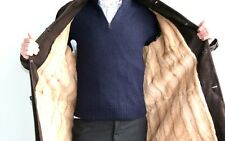 PRADA FELL LEDER MANTEL FUR LEATHER COAT WIESEL WEASEL MANTEAU пальто NEW Gr: 50