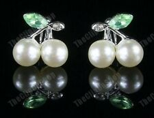 U CLIP ON rhinestone crystal PEARL CHERRY stud EARRINGS