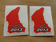 x2 ISLE OF MAN TT RACES 2013 course map sticker RED 50mm high