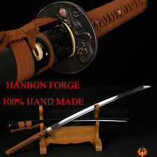HANDMADE JAPANESE SWORD SAMURAI KATANA MONSTER KOSHIRAE OIL Tempered BLADE SHARP