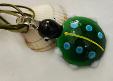 Murano glass necklace ladybird bug shaped with cord and ribbon necklace green