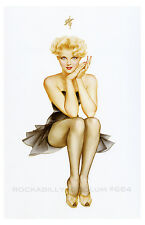 Pin Up Girl Poster 11x17 Blonde in Black Dress Black Nylons Stockings