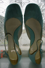SIZE 6  - NEW - CLARKS PALE TURQUOISE  LOW HEEL SHOES