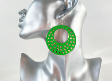 Gorgeous large bright neon green & silver hoop - disc drop earrings, NEW