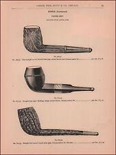 Briar Smoking Pipes, antique cataog page, Original 1893