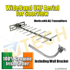 Wideband UHF Aerial with Wall Mount, Free Irish TV, Saorview, Outdoor