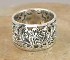 WIDE .925 STERLING SILVER FILIGREE PINEAPPLE BAND RING size 10  style# r0808