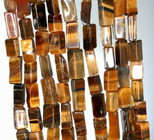 6X3-12X5MM COGNAC TIGER EYE GEMSTONE GRD B YELLOW RECTANGLE TUBE LOOSE BEADS 13""