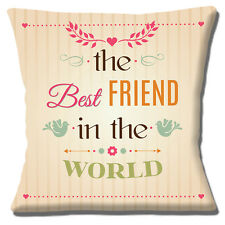 """'THE BEST FRIEND IN THE WORLD' UNIQUE GIFT IDEA CREAM 16"""" Pillow Cushion Cover"""