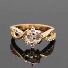 Charm Flower White Zircon Crystal Wedding Ring 18k Gold Plated Ring Size7