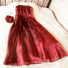 Bridesmaid party ballgown prom dress & bag by DEBUT Claret red Size 10