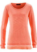 Stilvoller Pullover mit Spitzensaum Gr.48/50