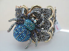 NWT Auth Betsey Johnson Spider Lux Blue Widow Chain Wide Cuff Statement Bracelet