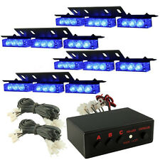 36 BLUE CAR LED WARNING EMERGENCY STROBE LIGHT BAR FLASH DASH DECK GRILL LAMP