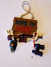 Born To Hunt ORNAMENT Rifle Antlers Binoculars Resin CHRISTMAS DECORATION