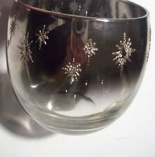 Vintage Stemless Silver Fade Roly Poly Ombre Snowflake Star Glass Cup @ cLOSeT