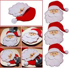 Christmas Snowman Cutlery Fork Bag Holder Xmas Dinner Tableware Table Decor CA