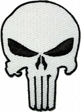 Marvel Comics The Punisher White Skull Logo Embroidered Patch, NEW UNUSED