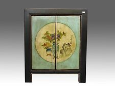 Chinese Beautiful Black Green Cabinet Side Table/Flower Paintings 21.2 inch Wide