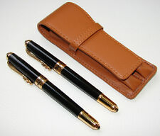 JINHAO BLACK LACQUER FOUNTAIN PEN & ROLLER PEN SET W/ LEATHER PEN CASE