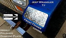 Jeep wrangler YJ Highly Polished Diamond Plate Front Fender Covers   X  Set of 2