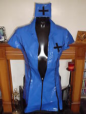 BLUE & BLACK HEAVY TIGHT PVC MATRON NURSE DRESS XX LARGE 16