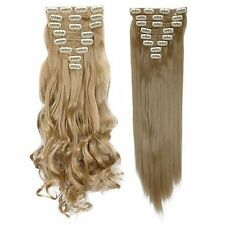 Full Head 8pcs 18clip Clip in on Hair Extensions Real thick human Make synthetic