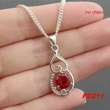 New   925 Silver Plated Red Cubic Zircon Charms Pendant For Necklace