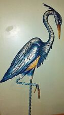 "Blue Heron Crane Bird Garden Stake Metal Yard Art Outdoor Decorative 34""H NEW"