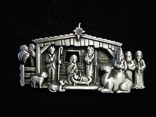 """JJ"" Jonette Jewelry Silver Pewter 'Realistic NATIVITY Scene' Christmas Pin"