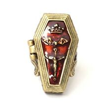 Vampire Coffin Locket Cocktail Ring Size 7 Antique Vintage Gothic RB42 Gold Tone