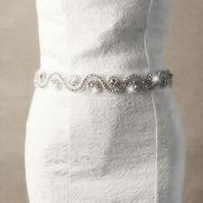 Handmade Bridal Rhinestone Crystal Beaded Applique Sash Wedding Dress Belt