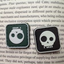 2 MINI  DEATH SKULL PIRATE MILITARY GLOW. TACTICAL ARMY PVC PATCH
