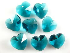 12pcs Peacock Blue Glass Crystal Heart-Shaped Beads Spacer Findings 14mm Charms