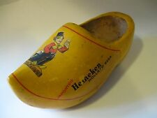 Vintage Heineken Advertising Carved Wooden Shoe Made in Holland