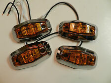(4) AMBER trailer Light 2 Diode 1x2.5 Clearance marker CHROME Bezels camper,RV