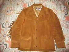 Vintage Schott Suede Western Jacket Coat Made USA Brown Leather Tassels 42 Large