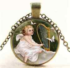 Vintage Angel and Harp Cabochon Glass Bronze Chain Pendant  Necklace