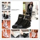 NEW WOMEN CANVAS ANKLE BOOT ZIPPER BUCKLE RIVET SNEAKERS TRAINING PUMPS SCHOOL Q